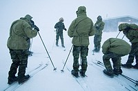 First day of winter survival training  Recruits on skis Danish Special Forces, Sirius Dog Patrol, North East Greenland