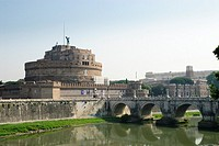 Ponte Sant´- Angelo and the Castle Sant´ Angelo from the Ponte Vittioro Emanuele II over the river Tiber