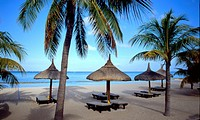 Sandy beach on Mauritius, long chairs under the palm trees