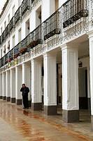 Manzanares main square and man phoning  Ciudad Real province  Spain
