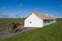 Laidhay Croft Museum DUNBEATH CAITHNESS Whitewashed thatched ancient longhouse and old farming equipment