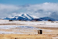What appears to be an outhouse in the middle of nowhere, Colorado, USA
