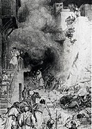 Destruction of Jericho by William Hole, illustration, 1607_1624