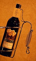 Close_up of a wine bottle in a winery, Caprock Winery, Lubbock, Texas, USA