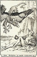 The Griffin is Made Welcome, illustration by H.J. Ford, from The Pink Fairy Book by Andrew Lang, USA, Illinois, Chicago, Newberry Library, 1897