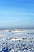 Snow covered landscape with sanddunes and the Northsea at the horizon, Sylt Island, Schleswig-Holstein, Germany, Europe