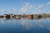 Floating houses in a lake, Requena, Rio Tapiche, Loreto Region, Peru