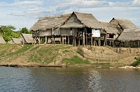 Stilt houses at the waterfront, Veinte De Enero, Loreto Region, Peru
