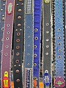 Belts on display Stand outside a shop. Indore, Madhya pradesh, India.