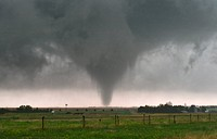 A tornado bears down on Quinter, Kansas on May 23, 2008 during an outbreak of twisters.