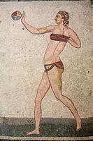 Bikini girl Mosaic in Villa del Casale, Piazza Armerina, Sicily, Italy