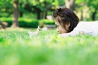 Japanese Girl Lying on Grass