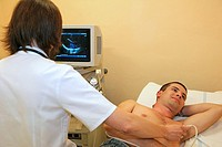 female doctor performing an ultrasound examination