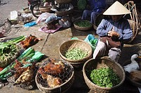 Hoi An (Vietnam): vegetables and poultry seller at the market