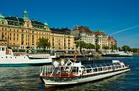 Sightseeing tour boat headed for the archipelago central Stockholm Sweden Europe