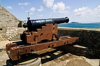 Castle Cornet ST PETER PORT GUERNSEY Traversing carriage 18th century 24 pounder cannon South or Water Battery
