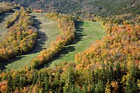 Cannon Mountain from Eagle Cliff during the autumn months    Located in the White Mountains, New Hampshire USA