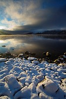 Scotland, Scottish Highlands, Loch Lochy  A snow covered bay upon the banks of Loch Lochy