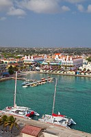 The marina and port of Aruba with dutch architecture from and elevated viewpoint