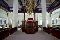 The interior sanctuary of the Jewish synogogue in Willemstad, Curacao, Netherland Antilles