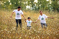 Young couple and son wearing recycle t_shirts running,Young couple and son wearing recycle t_shirts running,Contemporary