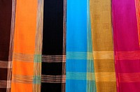 Lao silk scarves on sale near Luang Prabang, Laos, South East Asia