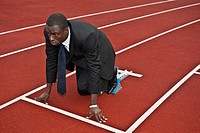 business man in starting blocks