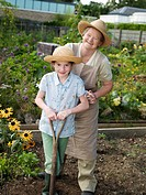 A mother and daughter in an allotment