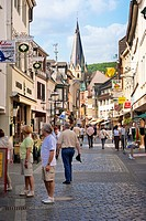 Colourful old decorated half timbered shops in the main street Ahrweiler Germany Europe