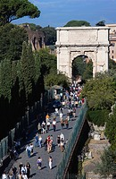 Italy, Rome, The Arch of Titus, tourists