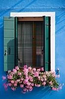 Italy, Venice, Burano, Window, Flower box with geranium flowers