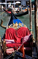 Italy, Venice, Gondola decoration, Gondolier in background