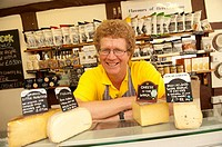 Mark Hindle, owner of the Mousetrap Cheese shop, and the Monkeland Cheese Dairy, Leominster, Herefordshire, England, UK