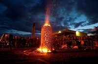TOM BARNETT''s ceramic fire sculpture 'Capsule' at the International Ceramics Festival 2009, Aberystwyth Wales UK