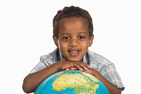 African boy 3-4 with globe, portrait (thumbnail)
