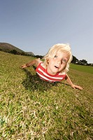 Spain, Mallorca, Boy 3_3 lying in meadow, portrait