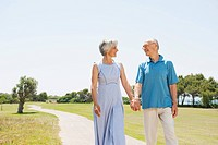 Spain, Mallorca, Senior couple hand in hand