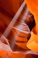 USA, Arizona, Upper Antelope Canyon, Sunbeams