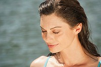Italy, South Tyrol, Woman eyes closed, portrait, close_up