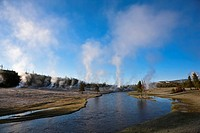 USA, Wyoming, Yellowstone National Park, Firehole River near steaming geysers