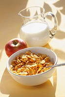 Cornflakes, apple and milk and, close_up