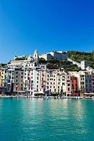 Waterfront pastel coloured houses, Porto Venere, Cinque Terre, UNESCO World Heritage Site, Liguria, Italy, Europe