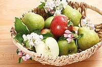 Apples, Pears and blossoms in basket, elevated view