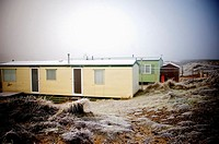 Caravan Park in mid winter Findhorn, Scotland