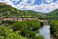 St Antonin Noble Val and the River Aveyron in Tarn et Garonne, France, Europe