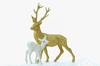 Christmas decoration, Golden stag figurine and deer figurine