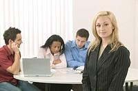 Caucasian Businesswoman Leading Her Management Team