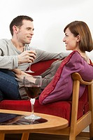 Couple relaxing with wine