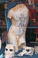 man Torso and carnival masks in papier mache, venetian art work, Venice ,Italy
