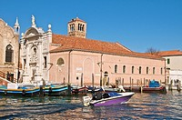 church and canal Fondamenta de l'Abazia Venice Italy
